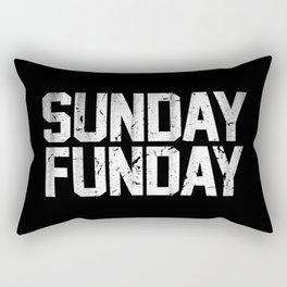 Sunday Funday Dirty Varsity Typography Print Black Rectangular Pillow