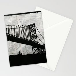 News Feed , Newspaper Bridge Collage Stationery Cards
