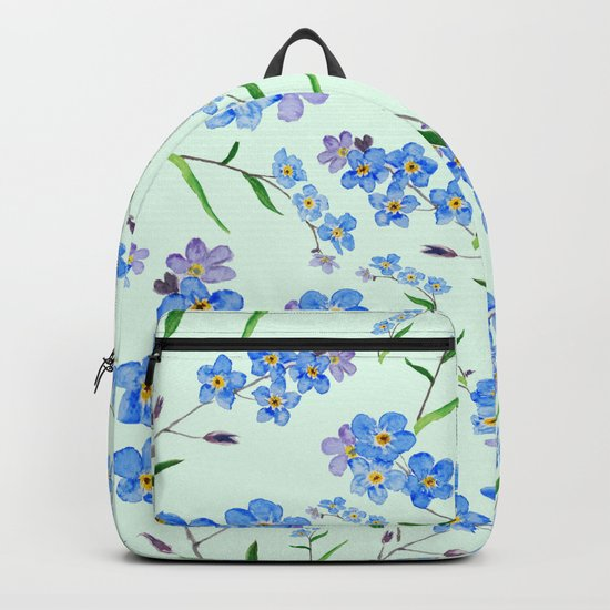 forget me not in green background Backpack