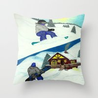 snowboarding Throw Pillows featuring Snowboarding ; Putting In Your Eight Hours by N_T_STEELART