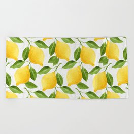 Watercolor Lemons Beach Towel