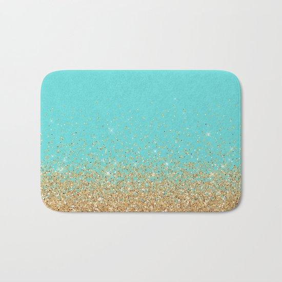 Sparkling gold glitter confetti on aqua teal damask background Bath Mat