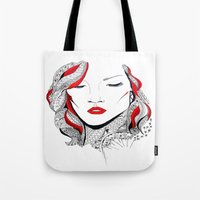 rihanna Tote Bags featuring Rihanna  by Ina Spasova puzzle