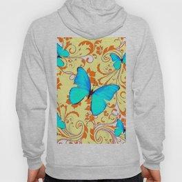 DECORATIVE BLUE BUTTERFLIES YELLOW FLORAL PATTERN Hoody
