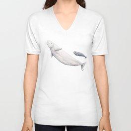 Beluga and baby beluga whale Unisex V-Neck