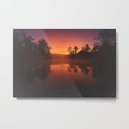 Autumn Morning Mist over Pond Metal Print
