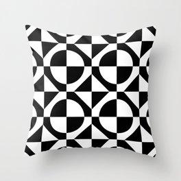 Black & White Checkered Squares & Circles 60's Two Tone Ska Pattern Throw Pillow