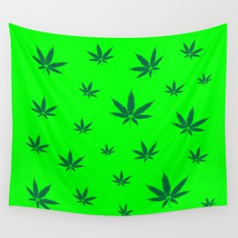 Cannabis Leaves Background Wall Tapestry