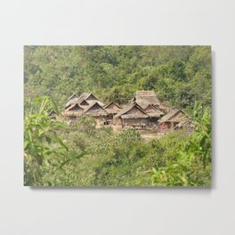 Akha Village in the Tropical Jungle, Laos Metal Print
