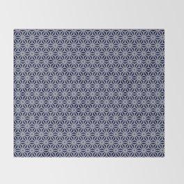 Japanese Yukata Jinbei Asanoha Navy blue Throw Blanket