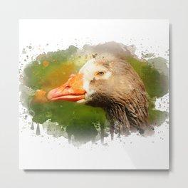 Goose face Metal Print