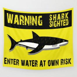 Warning Shark Sighted Wall Tapestry