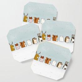 Winter forest animals Coaster
