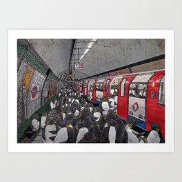 Penguins on the London Underground Art Print