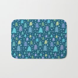 Winter Holidays Christmas Tree Green Forest Pattern Bath Mat
