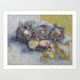 Red Cabbages and Onions Art Print