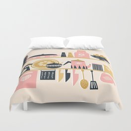 Colorful Cooking In A Mid Century Scandinavian Kitchen Duvet Cover