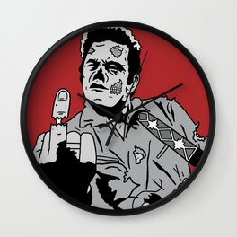 Johnny Cash Zombie Portrait Giving the Finger Print Wall Clock