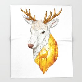 Enchanted Stag Throw Blanket