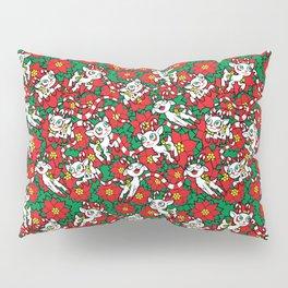 Christmas Poinsettia Candy Cane Deer Pillow Sham