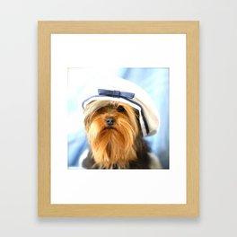 Little Sailor Yorkshireterrier With Sailor Hat #decor #society6 Framed Art Print