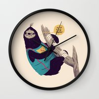 sloth Wall Clocks featuring sloth by Louis Roskosch