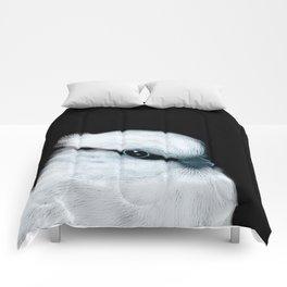 White Bird Black Background #decor #society6 #buyart Comforters