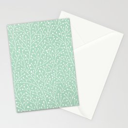 Mint Berry Branches Stationery Cards