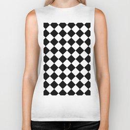 Contemporary Black & White Gingham Pattern - Mix and Match Biker Tank