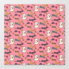 Happy Halloween ghosts, bats, boo and sweets pattern Canvas Print