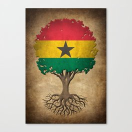 Vintage Tree of Life with Flag of Ghana Canvas Print