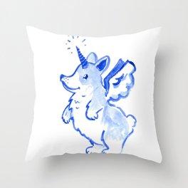 Unicorgi Takes Flight Throw Pillow