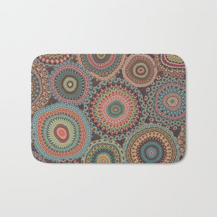 Boho Patchwork-Vintage colors Bath Mat