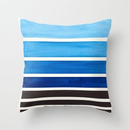 Prussian Blue Minimalist Watercolor Mid Century Staggered Stripes Rothko Color Block Geometric Art Throw Pillow