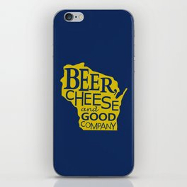 Blue and Gold Beer, Cheese and Good Company Wisconsin Graphic iPhone Skin