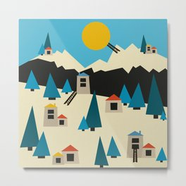 A Sunny Winter Day in the Mountain Village Metal Print