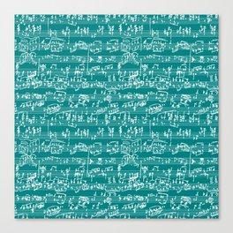 Hand Written Sheet Music // Teal Canvas Print