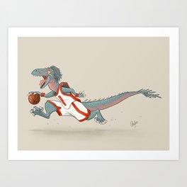 Dinosaur Basketball - Raptor Art Print