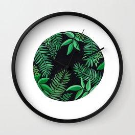 Watercolor Palm Circle Wall Clock
