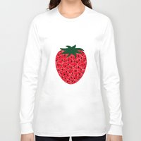 strawberry Long Sleeve T-shirts featuring Strawberry by Dpat Designs
