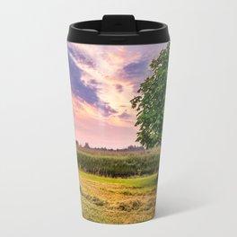 Green Tree and Sunset Sky Travel Mug