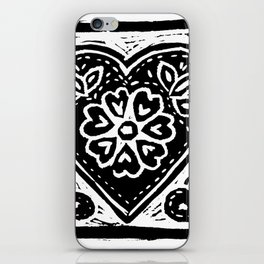 Heart Lino Print made with love iPhone Skin