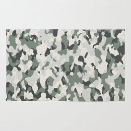Army Camouflage Pattern Snowy Forest Rug
