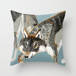 Totem Dark European Wolf Throw Pillow