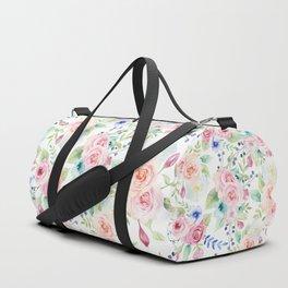 Blush pink watercolor elegant roses floral Duffle Bag