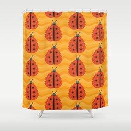 Orange Ladybug Autumn Leaf Shower Curtain