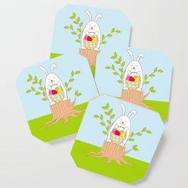 funny rabbit on the stump Coaster