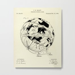 Terrestro Sidereal Globe-1886 Metal Print