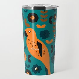 Parrot and flowers Travel Mug