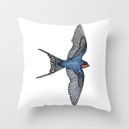 Barn Swallow in Flight - Stylized Ink Bird Illustration Throw Pillow